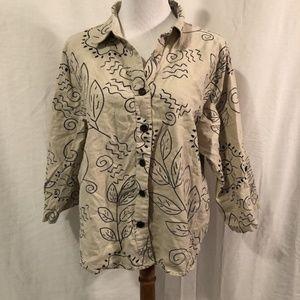 Allyson Whitmore XL Blouse Linen Leaf Print G
